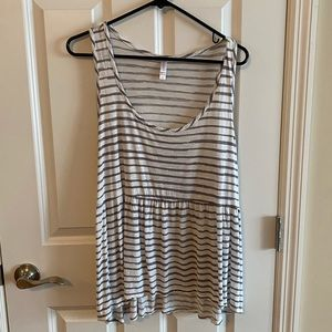 Grey striped tank with babydoll flare